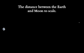 Distance between moon and earth, photographer unknown